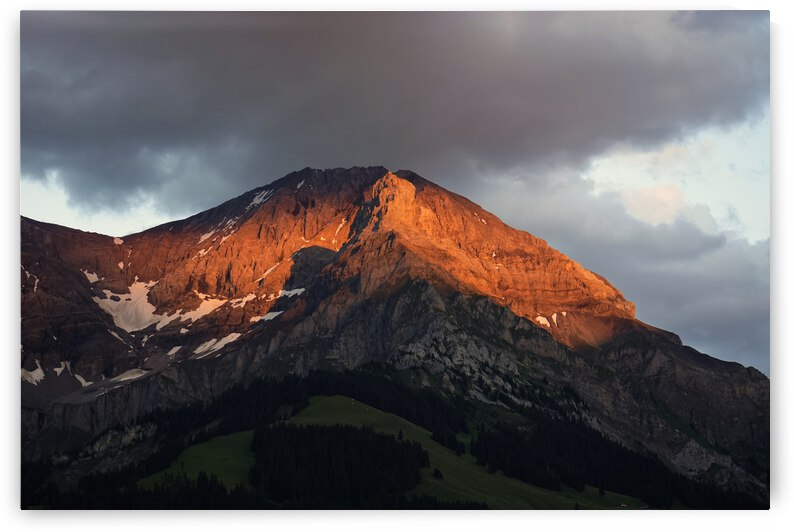 Mountain Bathed in the Golden Rays of the Sun at Sunset in Switzerland 3 of 3 by 1North