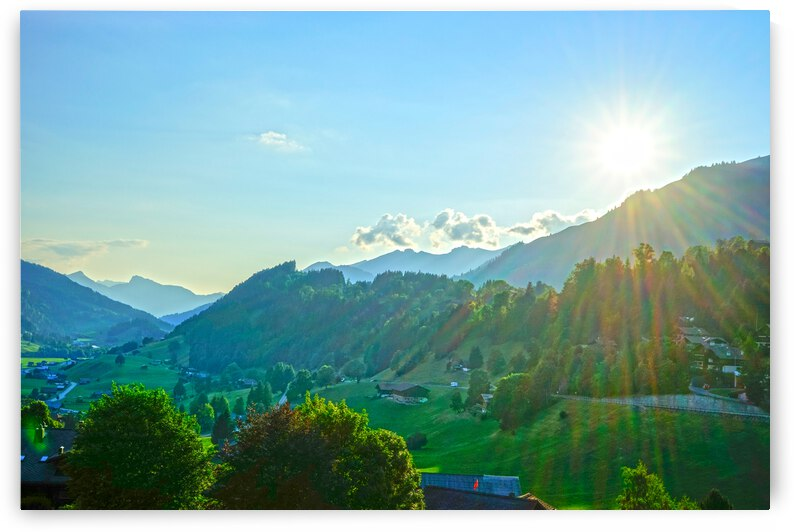 The Saanen Valley Bathed in Sunlight at Sunset in Switzerland by 1North