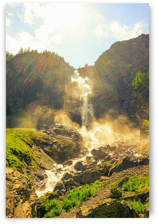 Engstligen Falls Bathed in Mist and Sunlight Adelboden Switzerland in the Bernese Highlands by 360 Studios
