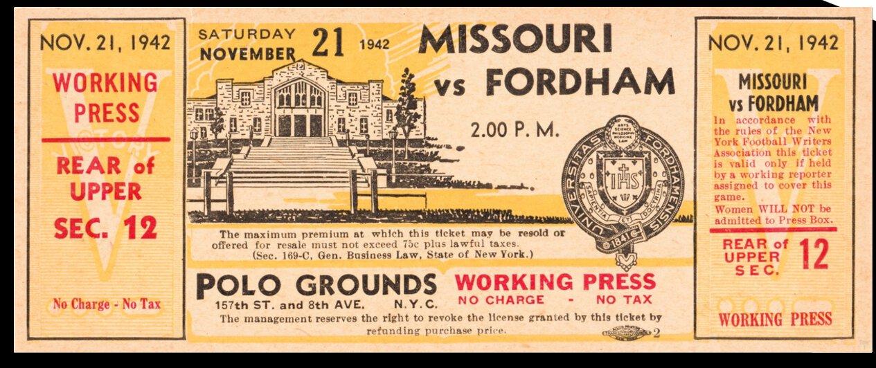 1942 Missouri Tigers vs. Fordham Rams by Row One Brand