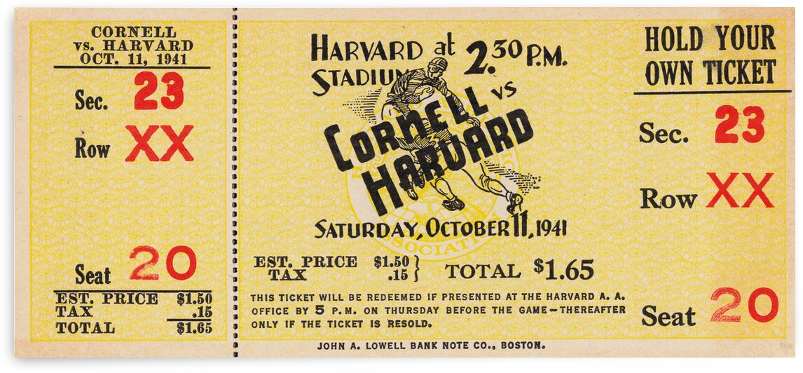 1941 Cornell vs. Harvard Football Ticket Canvas by Row One Brand