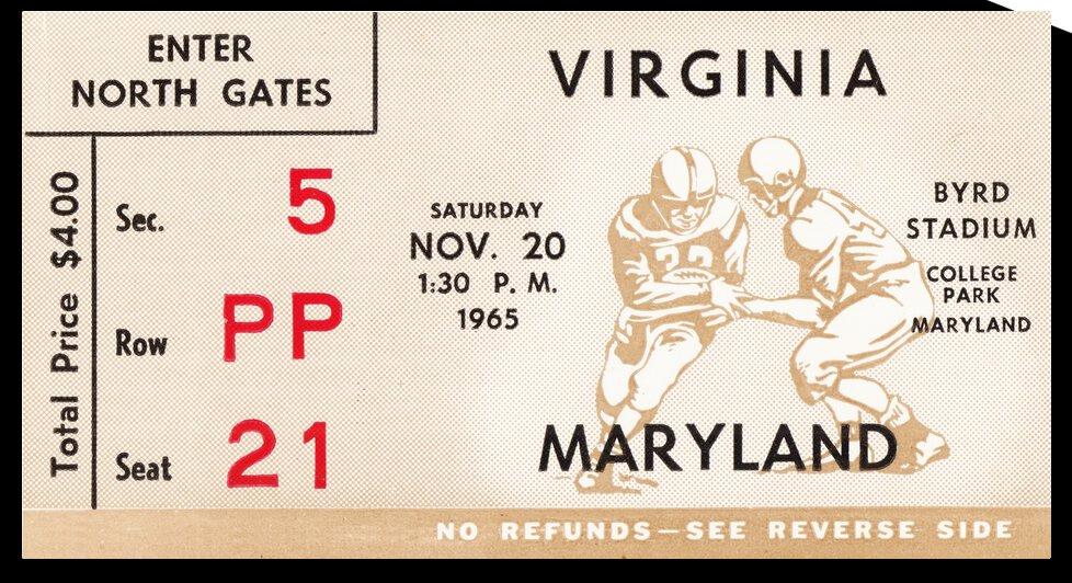 1965 Maryland vs. Virginia Football Ticket Canvas by Row One Brand