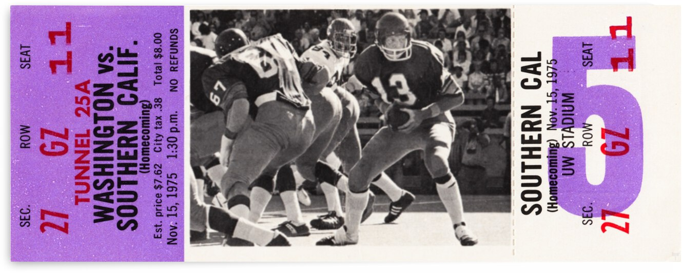 1975 Washington Huskies vs. USC Trojans by Row One Brand