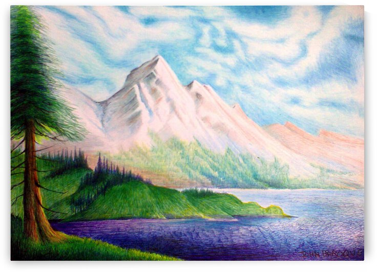 another mountain lake  inspired by the bob ross   by John Baroque