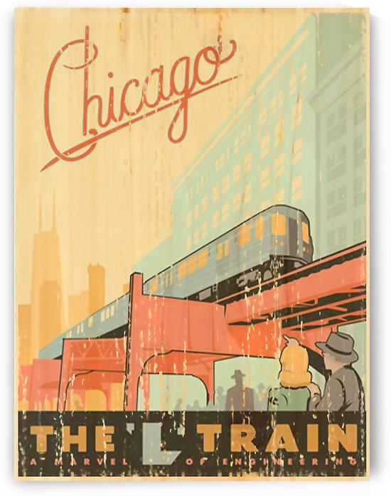 Chicago L Train Vintage Art Poster by VINTAGE POSTER