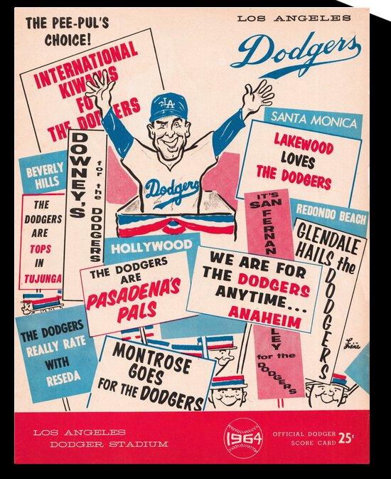 1964 LA Dodgers Baseball Score Card Jack Lane Art by Row One Brand