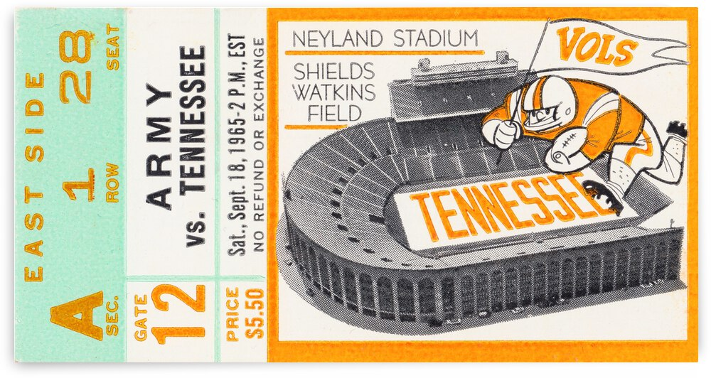1965 Tennessee Vols vs. Army Cadets by Row One Brand