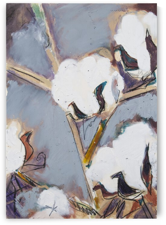 Louisiana Cotton Stalks with Cool Grey and Metallic Gold II by Caroline Youngblood