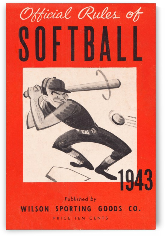 1943 Wilson Rules of Softball Poster by Row One Brand
