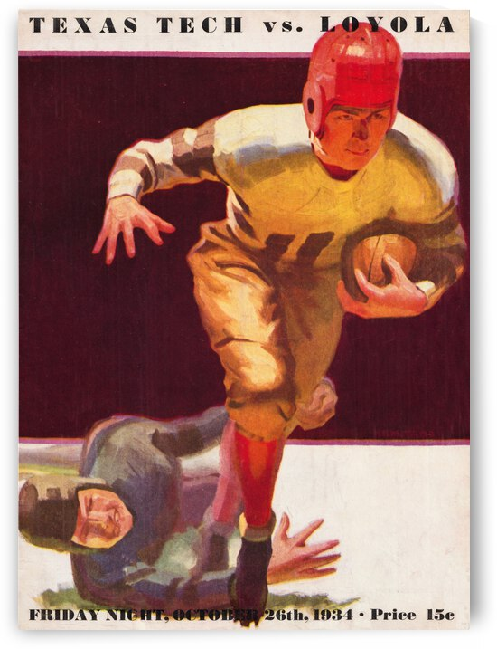 1934 Loyola Lions vs. Texas Tech Matadors by Row One Brand