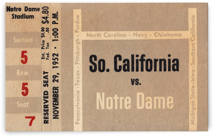 1952 USC vs. Notre Dame Football Ticket Canvas by Row One Brand