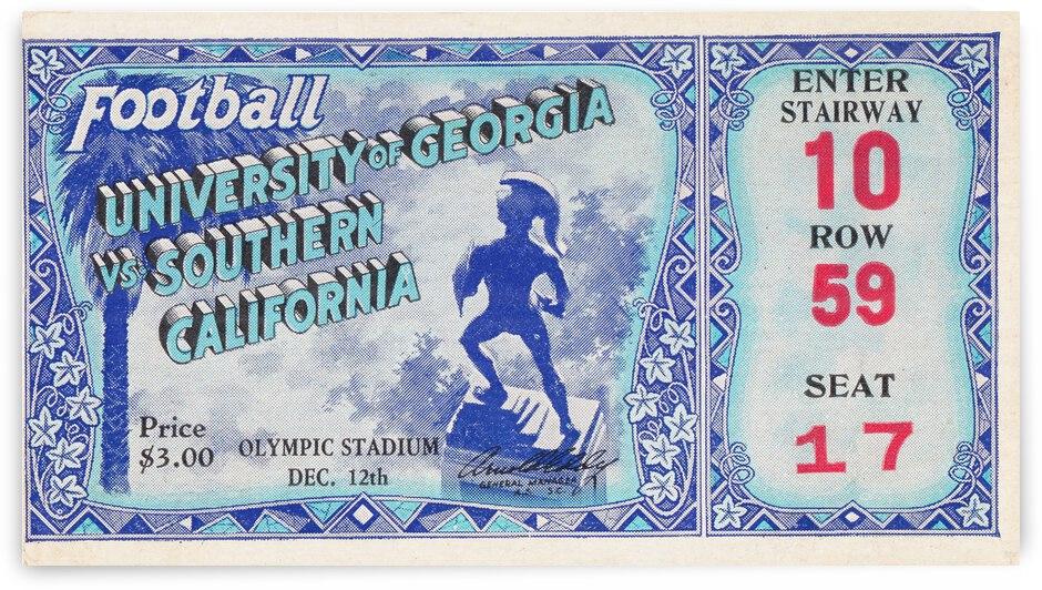 1931 Georgia Bulldogs vs. USC Trojans Football Ticket Canvas by Row One Brand