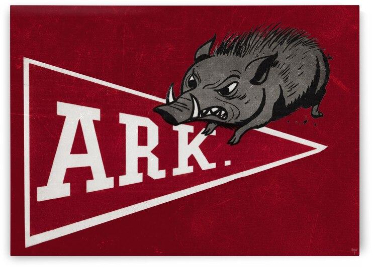 1958 Arkansas Razorback Vintage Pennant Art by Row One Brand