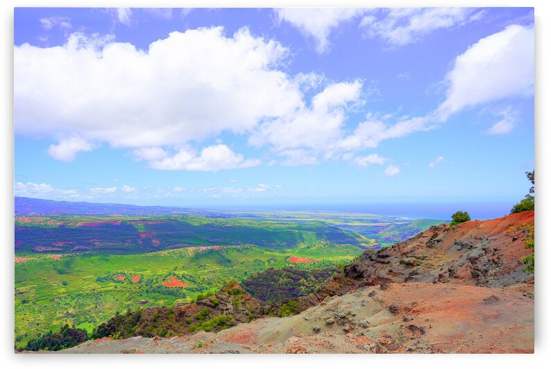 View to the Coast down the Valley from the Mountains in Kauai by 360 Studios