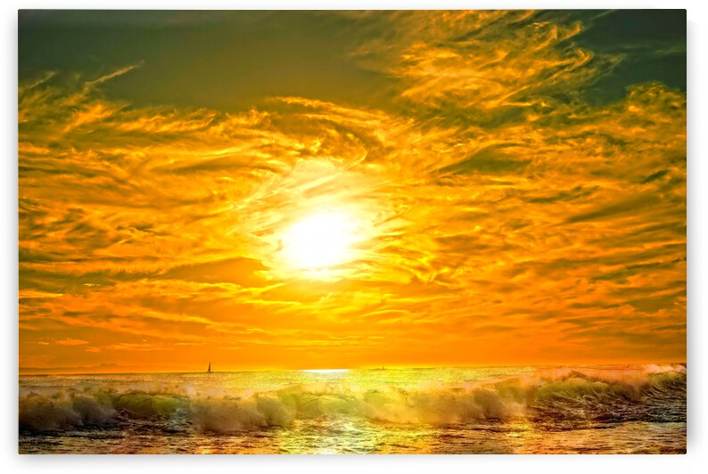 Wild Waves Break as the Sun Sets over Catalina Island in Newport Beach California by 1North