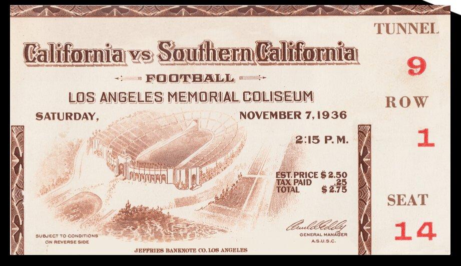 1936 Cal Bears vs. USC Trojans Football Ticket Canvas by Row One Brand