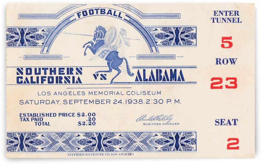 1938 USC vs. Alabama Football Ticket Art by Row One Brand