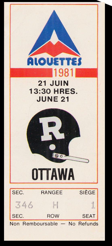 1981 Montreal vs. Ottawa Football Ticket Art by Row One Brand