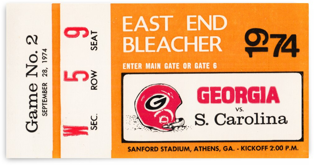 1974 Georgia Bulldogs vs. South Carolina Gamecocks by Row One Brand