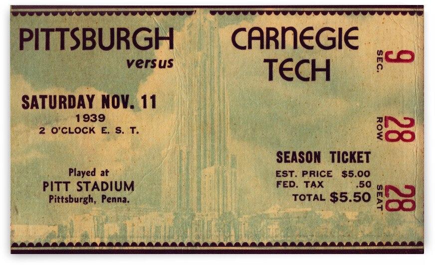1939 Pitt vs. Carnegie Tech Football Ticket Art by Row One Brand