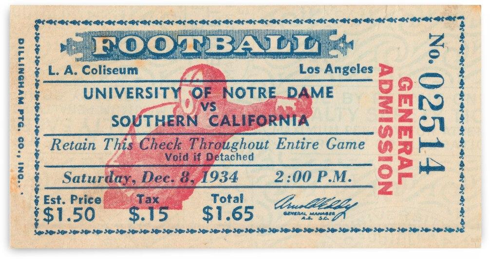 1934 Notre Dame Irish vs. USC Trojans Football Ticket Art by Row One Brand