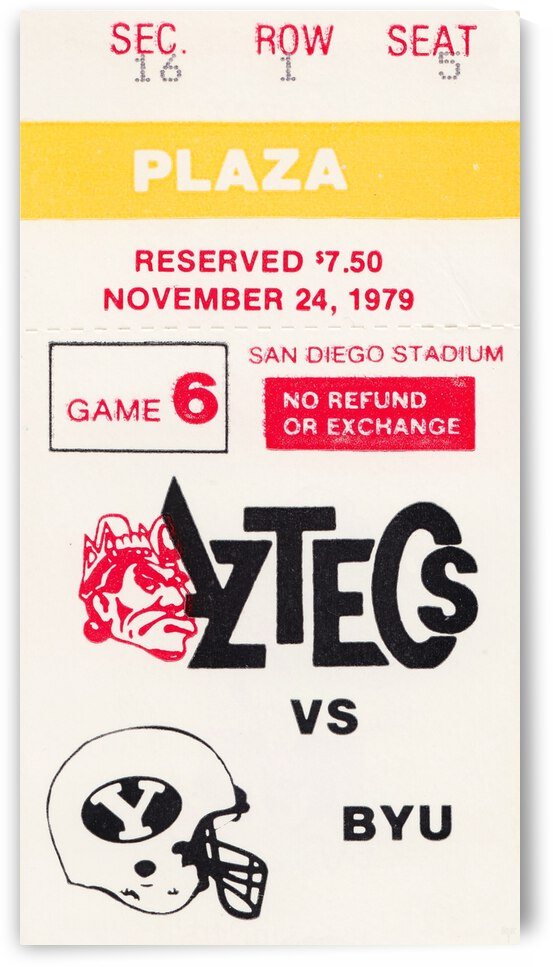 1979 San Diego State Aztecs First National TV Game by Row One Brand