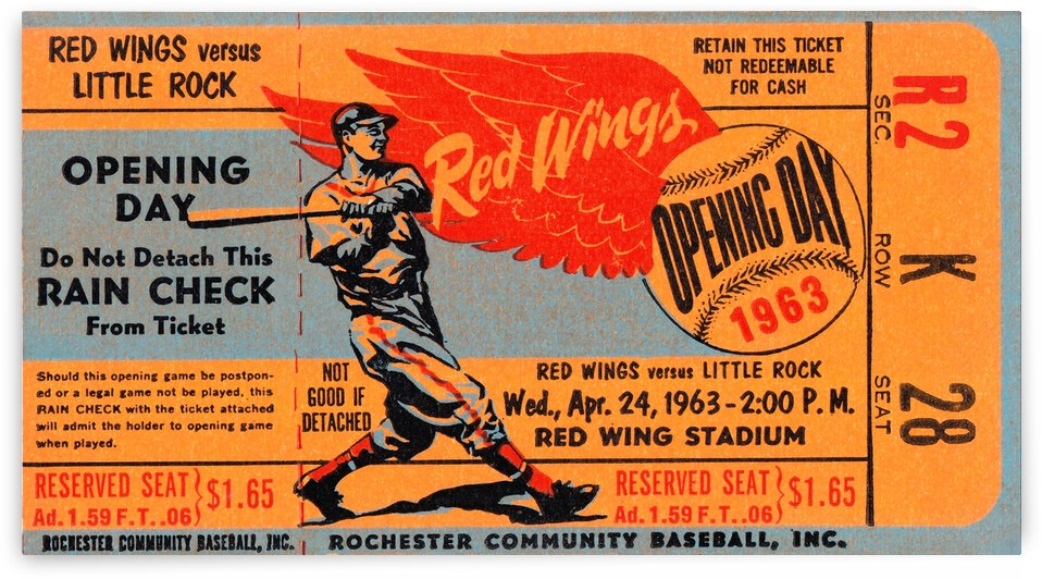 1963 Rochester Red Wings vs. Little Rock Travelers  by Row One Brand