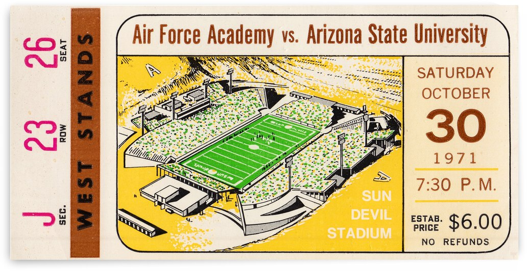 1971 Air Force Falcons vs. Arizona State Sun Devils by Row One Brand