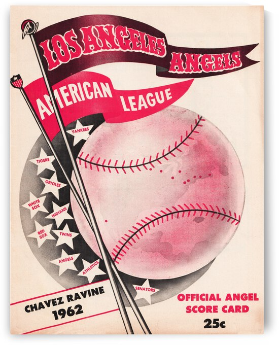 1962 Los Angeles Angels Score Card Art by Row One Brand
