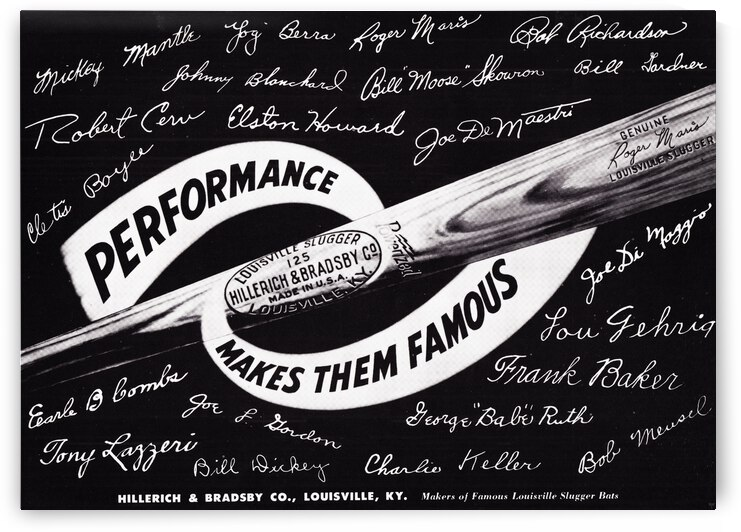 1962 Louisville Slugger Ad Yankees Stars Autographs by Row One Brand