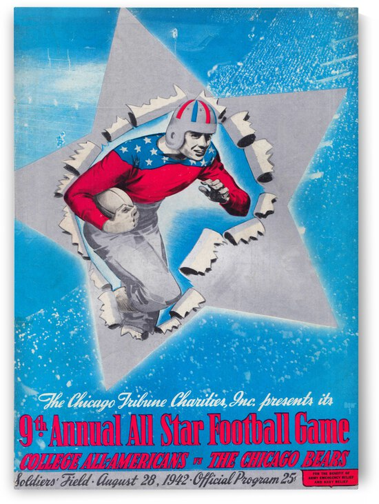 1942 College All-Stars vs. Chicago Bears Football Program Art by Row One Brand