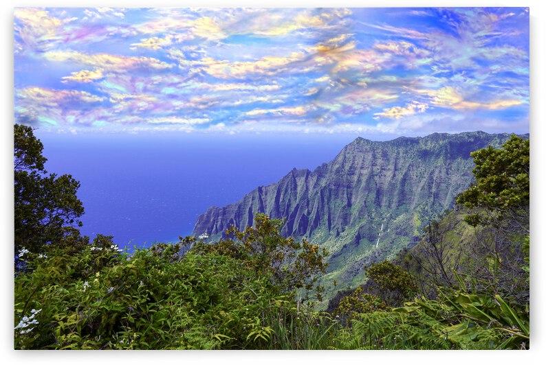 Sunset at Puu O Kila Lookout Kohala Mountains on the Island of Kauai in Hawaii by 360 Studios
