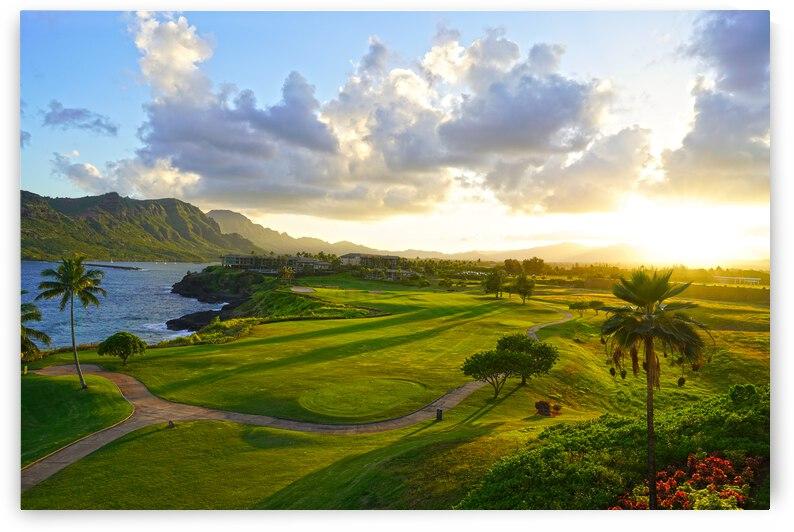 Sunset over Kukii Point on the Island of Kauai in Hawaii by 360 Studios