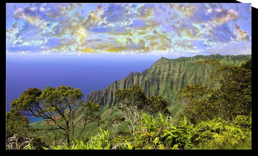 Sunset at Puu O Kila Lookout Kohala Mountains on the Island of Kauai in Hawaii Panorama by 24