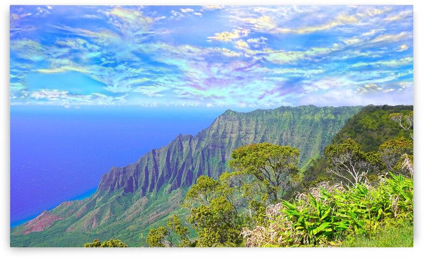Sunset at Puu O Kila Lookout Kohala Mountains on the Island of Kauai in Hawaii 2 of 2 Panorama by 1North