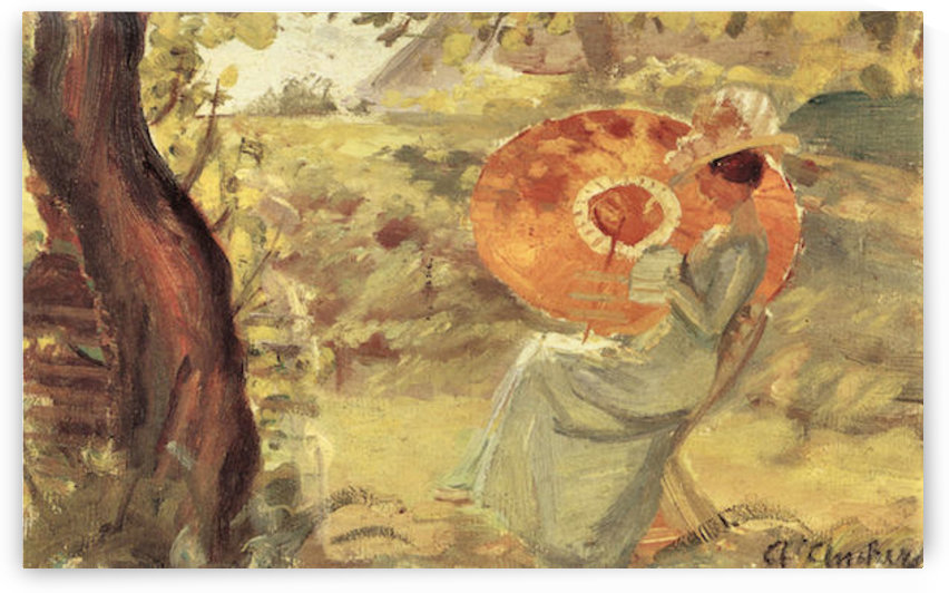 Young girl in garden with orange umbrella by Anna Ancher by Anna Ancher