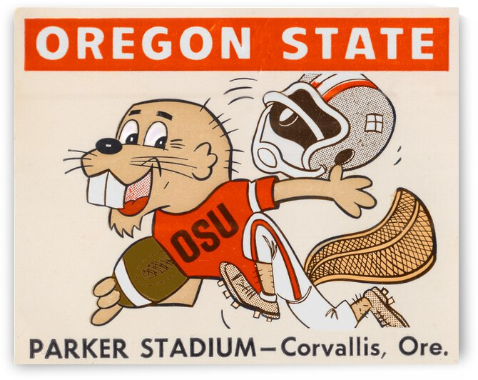 1970 Oregon State Beaver Ticket Stub Remix Art by Row One Brand