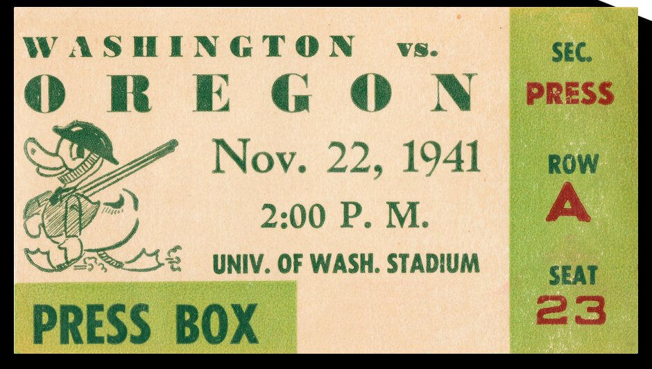 1941 Oregon Ducks vs. Washington Huskies Press Box by Row One Brand