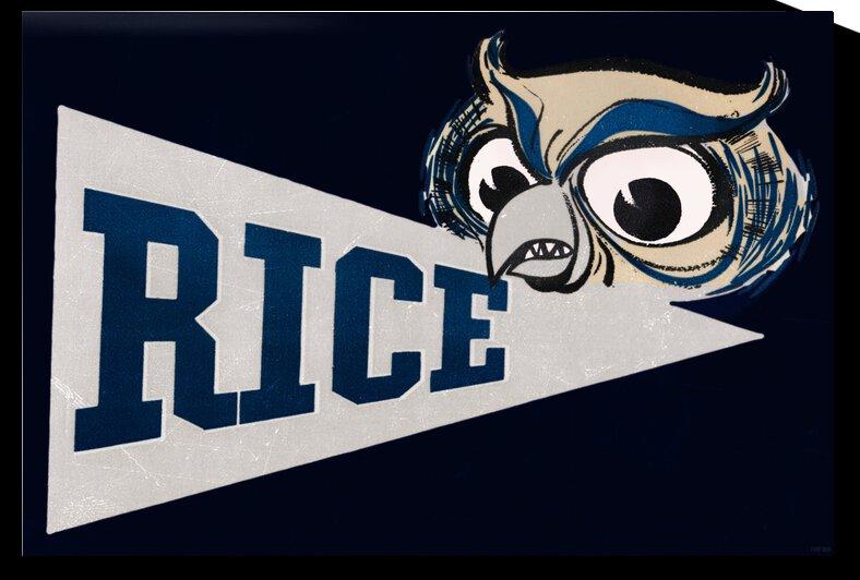 1958 Rice Owl Pennant Art by Row One Brand
