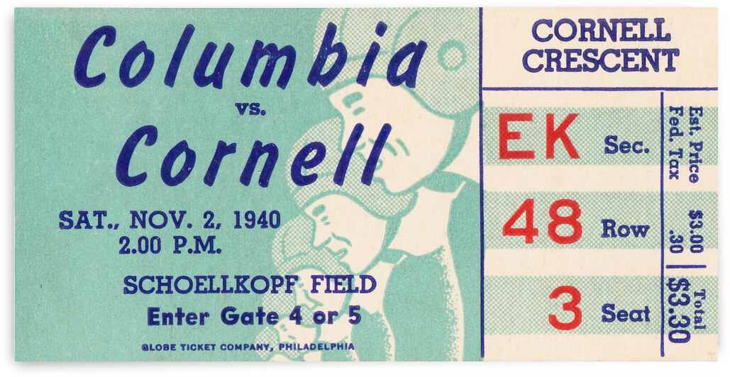 1940 Cornell Big Red vs. Columbia Lions by Row One Brand