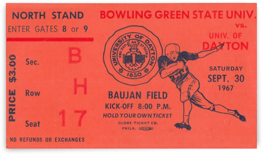 1967 Bowling Green Falcons vs. Dayton Flyers by Row One Brand