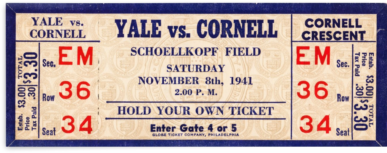 1941 Yale vs. Cornell Ticket Art by Row One Brand