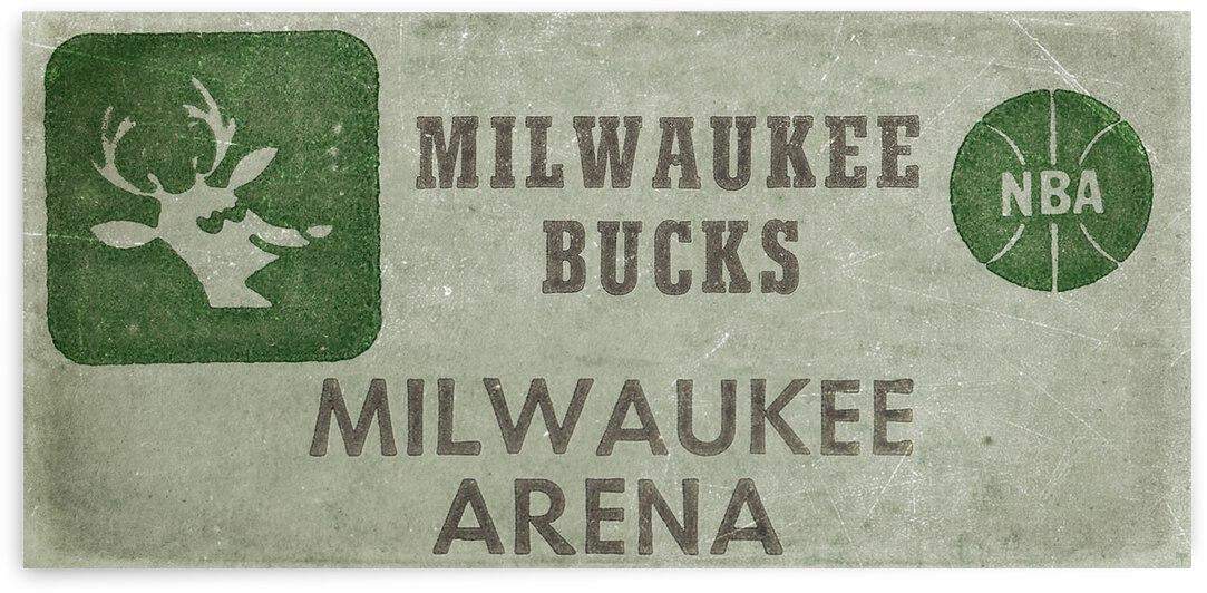 1977 Milwaukee Bucks Ticket Stub Remix Art by Row One Brand