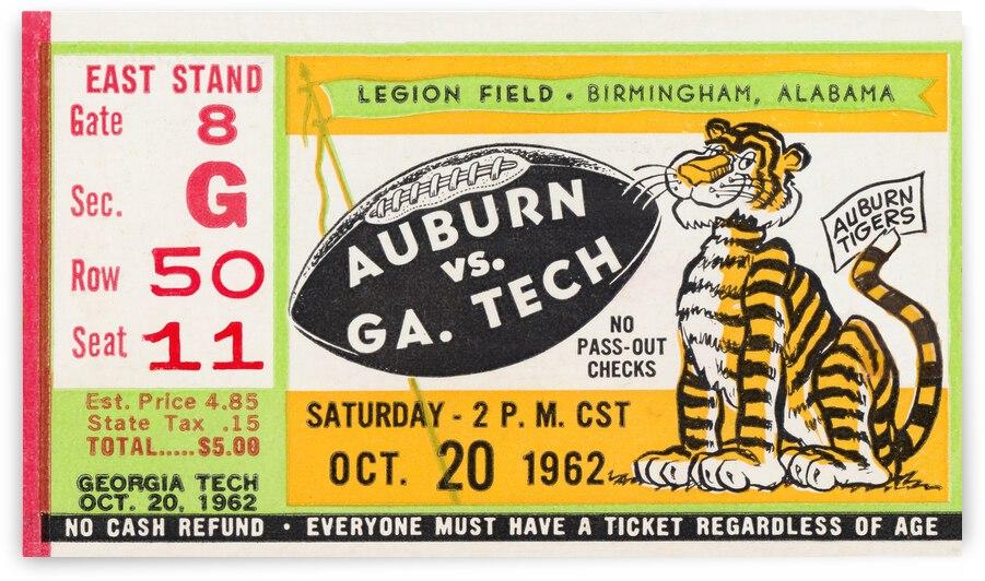 1962 Georgia Tech Yellow Jackets vs. Auburn Tigers Football Ticket Canvas by Row One Brand