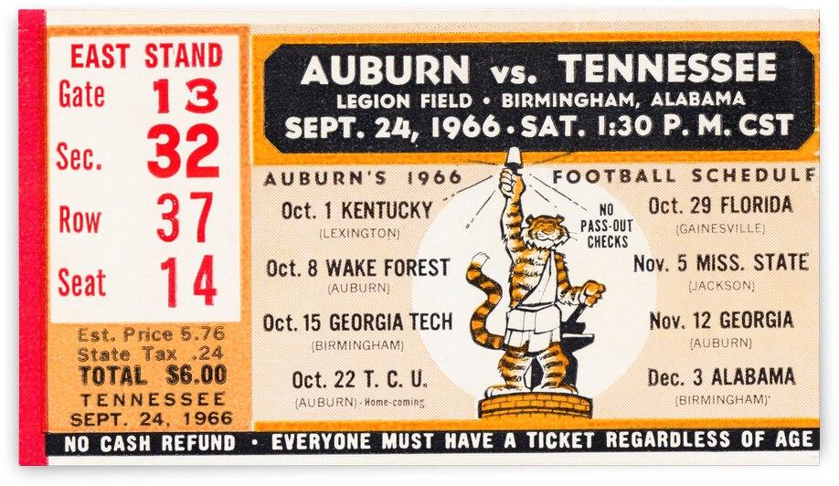 1966 Tennessee vs. Auburn Football Ticket Stub Art by Row One Brand