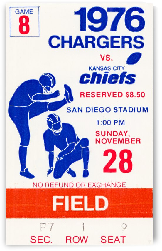 1976 San Diego Chargers vs. Kansas City Chiefs by Row One Brand