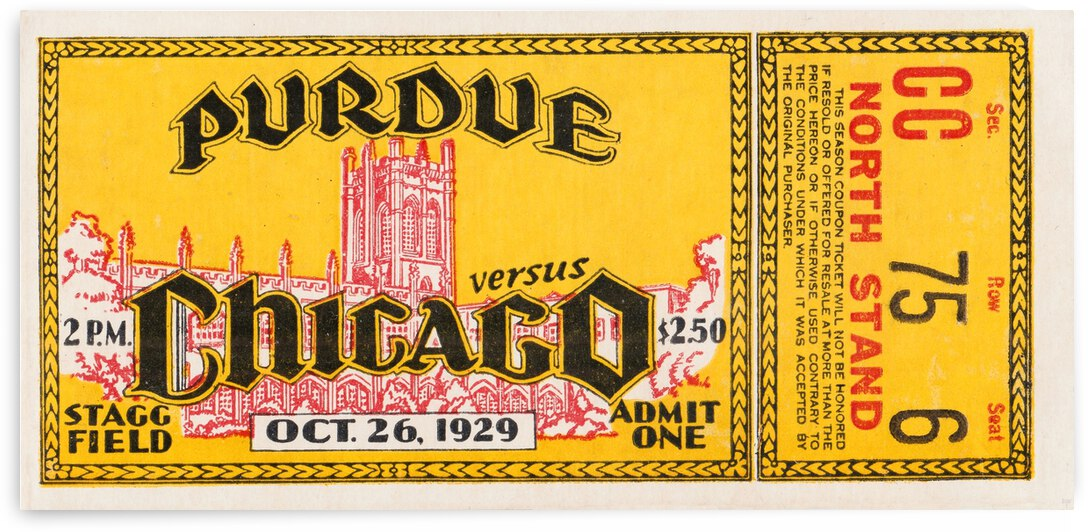 1929 Chicago vs. Purdue Football Ticket Art by Row One Brand
