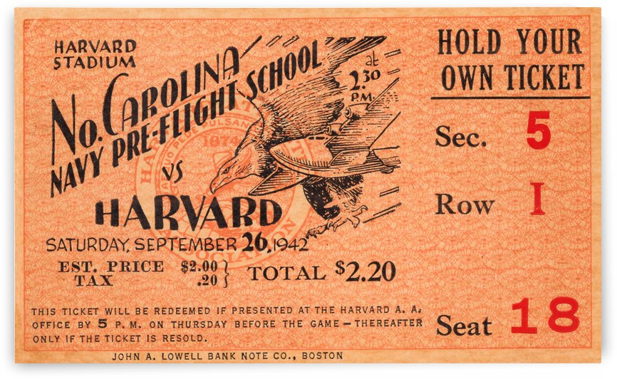 1942 Harvard Crimson vs. North Carolina Pre-Flight Cloudbusters by Row One Brand