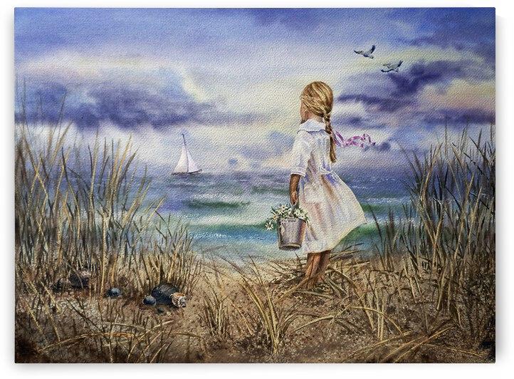 Girl At The Ocean Beach Art Painting by Irina Sztukowski