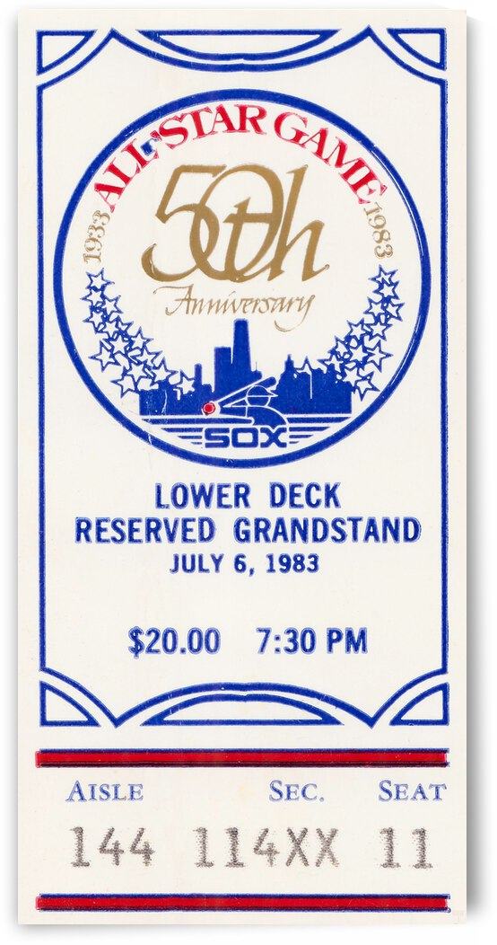 1983 Baseball All-Star Game Ticket Art by Row One Brand